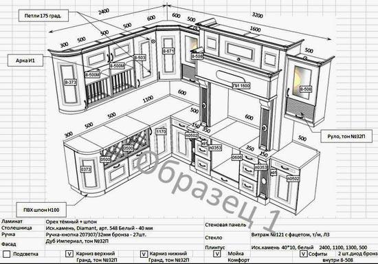 Il layout della cucina è dimensioni. Schemi e disegni della cucina ...